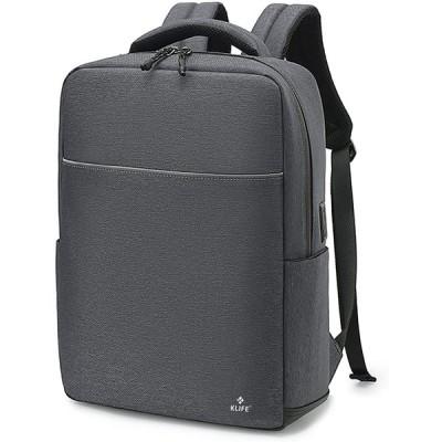 KLIFE リュック ビジネスリュック リュックサック メンズ ビジネスバックパック レディース 大容量 撥水加工 USBポート搭載 15.6インチパ
