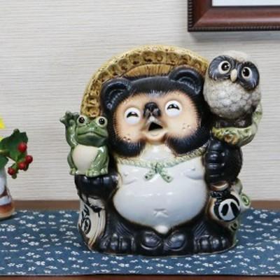 たぬき 置物 名入れ  信楽焼置き物 信楽狸 庭 縁起物ギフト和風 陶器 【手作り】