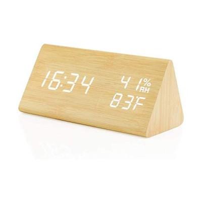 SEKATYOI三角デジタル置き時計 置時計 目覚まし時計 温度湿度計 カレンダー 時間 /時刻 /日付/アラームおしゃれ 大きなLED数字表示 木目