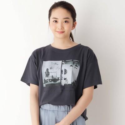 ピンクアドベ pink adobe 【M-L】グラフィックプリント半袖Tシャツ (チャコールグレー)