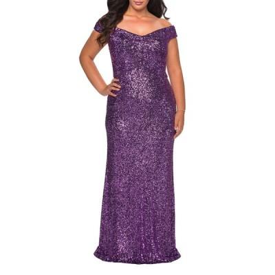 ラフェム レディース ワンピース トップス Plus Size Sequin Off-The-Shoulder Column Gown