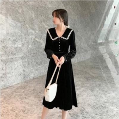 予約商品 大きいサイズ レディース 襟 レース 長袖 ワンピース ベロア 光沢オーバーサイズ 韓国ファッション ビッグサイズ otona LL 3L 4