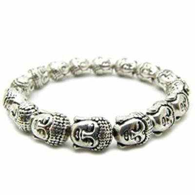 Antique Tibetan Silver Buddha Head Buddhist Bracelet Prayer Mala Bracele