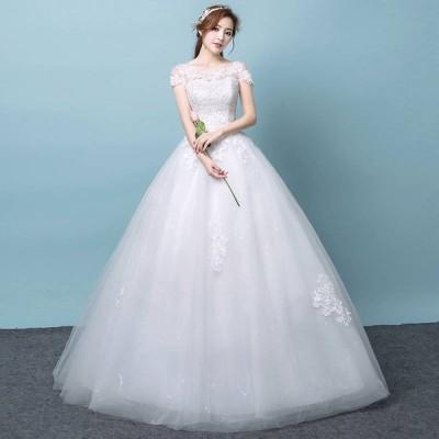 ウエディングドレス レディース プリンセスドレス 白い ブライダルドレス 半袖 花嫁 Aライン ロング丈 演奏会 前撮り ドレス 編み上げ ホワイト
