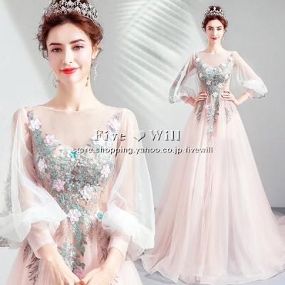 【送料無料 】ウエディングドレス マタニティドレス エンパイア 高品質 二次会 ウェディングドレス 結婚式 ボレロ 花嫁 プリンセス ロングドレス 刺繍