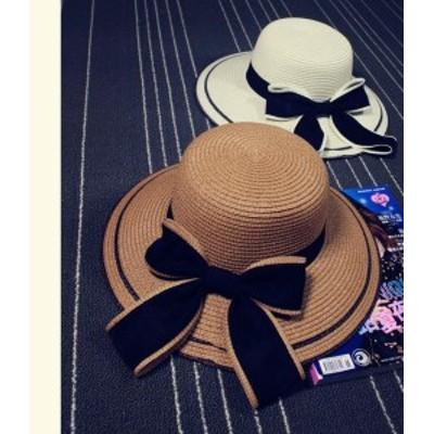 帽子 レディース レディースハット リゾートハット/ハット ビーチハット 麦わら帽子 ストローハット サマーハット ちょう結び  日よけ