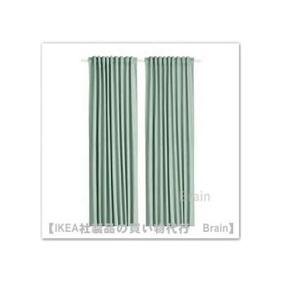 IKEA/イケア TIBAST/ティバスト カーテン1組145x250 cm グリーン