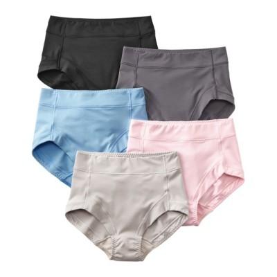 お腹脚口らくちん。つるんとストレッチ深ばきショーツ5枚組 スタンダードショーツ, Panties