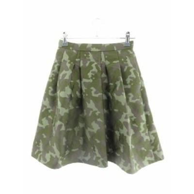 【中古】ジャスグリッティー JUSGLITTY スカート フレア ひざ丈 迷彩柄 カモフラ 0 緑 グリーン /M1 レディース