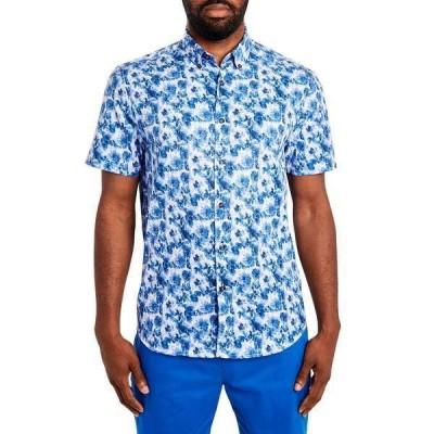 タリア シャツ トップス メンズ Men's Paisley Short Sleeve Shirt Blue