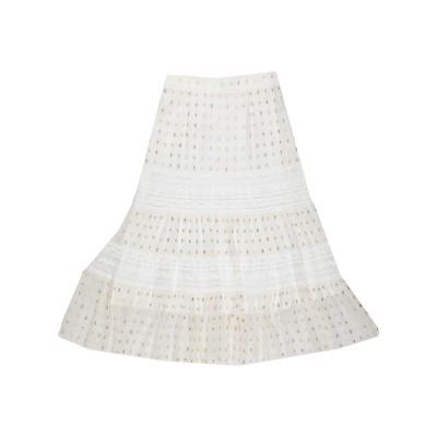 テンパリー・ロンドン TEMPERLEY LONDON 7分丈スカート アイボリー 8 レーヨン 40% / シルク 33% / 金属繊維 27%