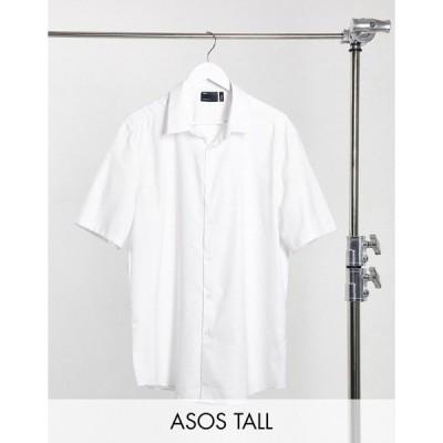 エイソス メンズ シャツ トップス ASOS DESIGN Tall slim fit textured shirt with collar bar White