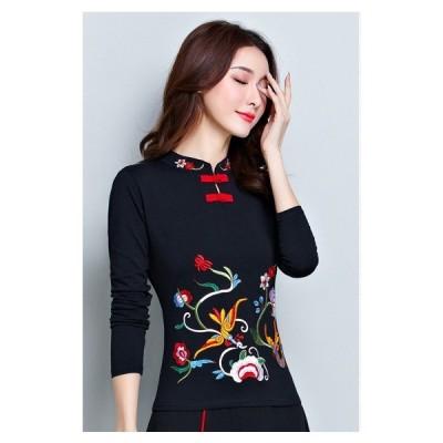 Tシャツ チャイナ カットソー 太極拳 長袖 無地 立ち襟 刺繍 中国風