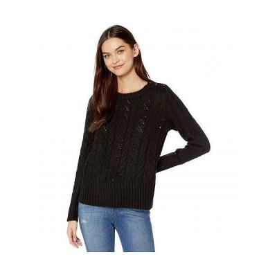 kensie ケンジー レディース 女性用 ファッション セーター Punk Yarn Sweater with Shoulder Button Detail KSNK5942 - Black