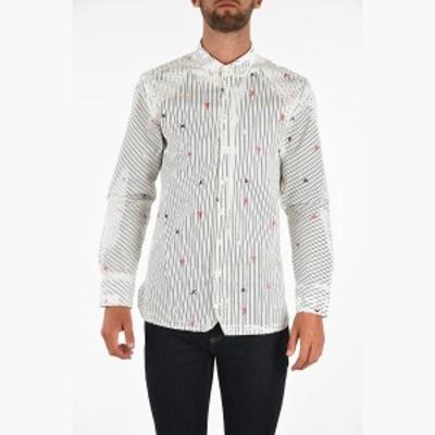 NEIL BARRETT/ニール バレット コットンシャツ Black & White メンズ 秋冬2019 Spread Collar Hand Painted MARTIAL ARTS Shirt dk