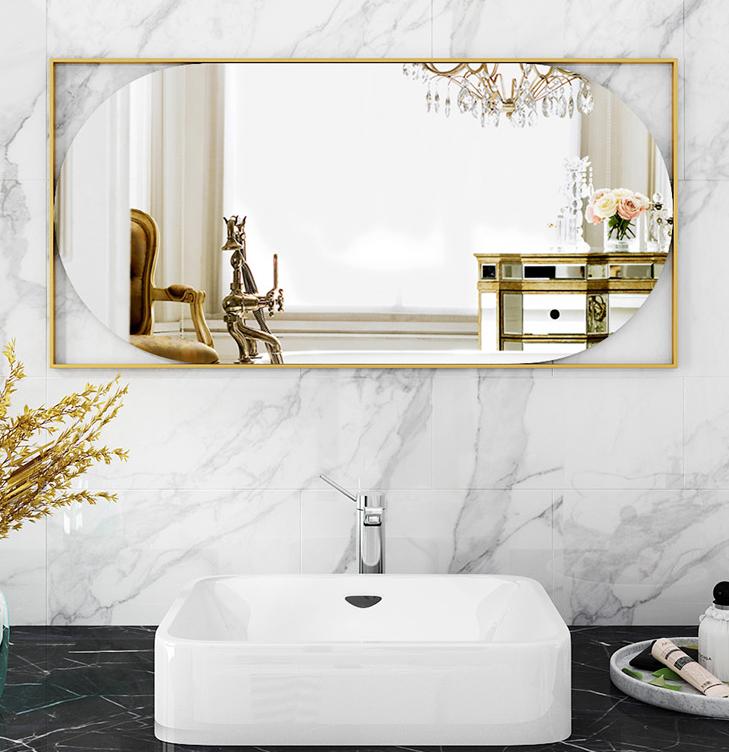 鏡子 浴室鏡 60*90cm 鐵藝鏡 北歐浴室鏡 衛生間鏡子 衛浴鏡試衣鏡洗手間廁所壁掛鏡橢圓化妝鏡