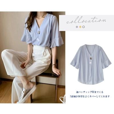 夏服2021ニューデザイン ファッションで人気商品 韓流Vネックシフォン ゆったりサイズトップス 短袖シャツ かっこいい