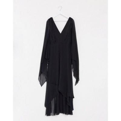 エイソス ドレス 大きいサイズ レディース ASOS DESIGN Curve soft layered maxi dress with tie waist detail エイソス ASOS ブラック 黒