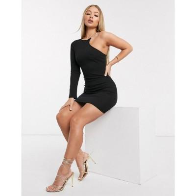 アックスパリス AX Paris レディース ワンピース ワンピース・ドレス cut out one shoulder dress in cream ブラック