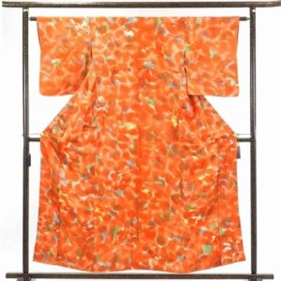 【中古】リサイクル着物 小紋 / 正絹朱赤地ぼかし袷小紋着物 / レディース【裄Sサイズ】