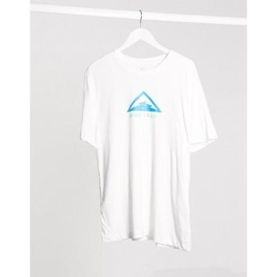 ナイキ メンズ シャツ トップス Nike Running Trail chest print t-shirt in white