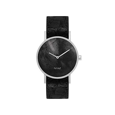 特別価格South Lane ステンレススチール スイス製クォーツ腕時計 レザーカーフスキンベルト ブラック 20 (モデル: AW18-77)好評販売中