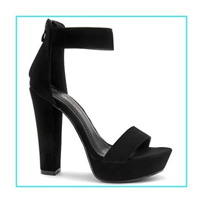 Shoe Land SL-Cutesy Women's Open Toe Ankle Strap Chunky Platform Dress Heel Sandal Black 8.0【並行輸入品】