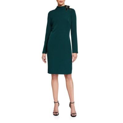 バッドグレイミッシカ レディース ワンピース トップス Mock-Neck Long-Sleeve Dress w/ Laced Ribbon Shoulder Detail