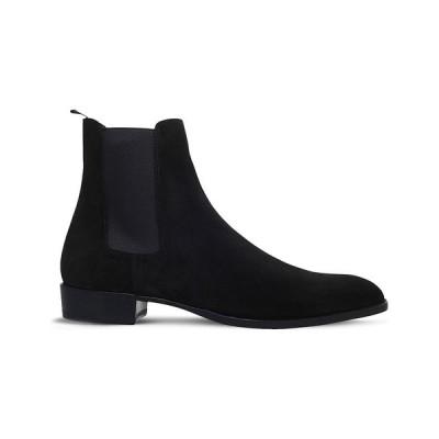 イヴ サンローラン SAINT LAURENT メンズ ブーツ チェルシーブーツ シューズ・靴 Wyatt suede Chelsea boots BLACK