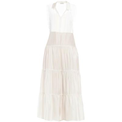 SANDRO ロングワンピース&ドレス ホワイト 34 レーヨン 100% / コットン / ポリエステル ロングワンピース&ドレス