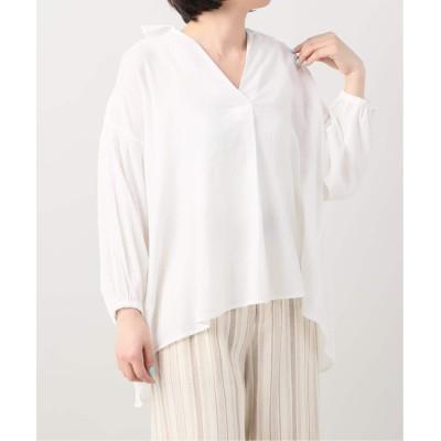 レディース ベーセーストック シャーリングオーバーシャツ ホワイト フリー