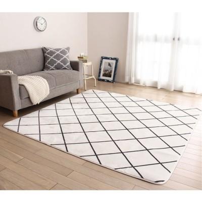 ベルーナインテリア お買得洗えるさらさらタッチラグ<カーペット・絨毯><1.5畳・2畳・3畳> チェックホワイト 約180cm×180cm<2畳> レディース