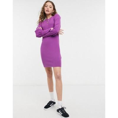 エイソス ミニドレス レディース ASOS DESIGN super soft puff sleeve mini dress in violet エイソス ASOS