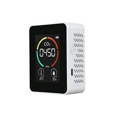 CO2測定器 二酸化炭素濃度計 二酸化炭素検出器 CO2メーターモニター 空気質検知器 高精度 ポータブル USB充電 リアルタイム監視 温/湿度表示