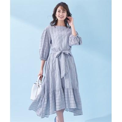 【大きいサイズ】 スタクロ 共布リボン付フィッシュテールストライプワンピース ワンピース, plus size dress