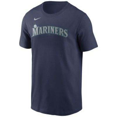 ナイキ メンズ Tシャツ トップス Seattle Mariners  Men's Swoosh Wordmark T-Shirt Navy