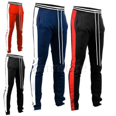 ジョガーパンツ メンズ ジャージ スウェットパンツ スポーツウェア フィットネス ルーム 4色 部屋着 サイドライン 配色 スリム トレーニングウェア 長ズボン