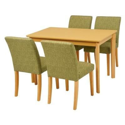 ダイニング 5点セット 〔テーブル×1 チェア×4 グリーン〕 テーブル幅110cm 木製フレーム 組立品 〔リビング〕〔代引不可〕