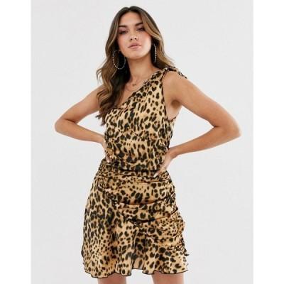 ミスガイデッド Missguided レディース ワンピース ワンピース・ドレス one shoulder dress with ruched skirt in leopard print Multi
