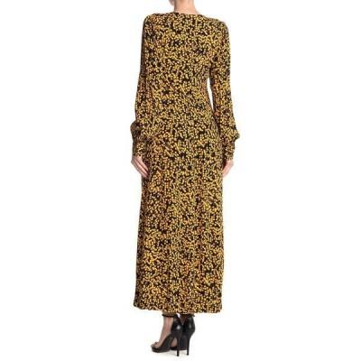 ガニー レディース ワンピース トップス Printed Crepe Maxi Dress BLACK