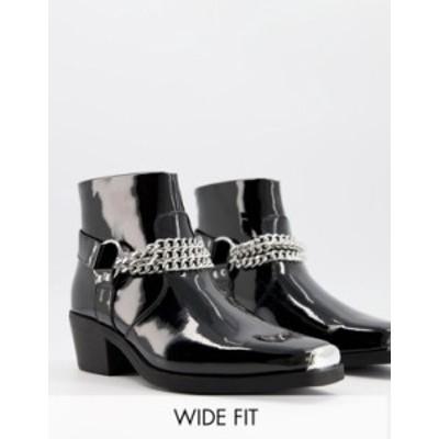 エイソス メンズ ブーツ・レインブーツ シューズ ASOS DESIGN Wide Fit cuban heel western chelsea boots in black patent with silver