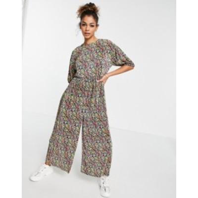 エイソス レディース ワンピース トップス ASOS DESIGN smock plisse jumpsuit in floral print Floral print