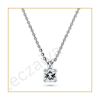 BERRICLE Rhodium Plated Sterling Silver Solitaire Anniversary Wedding Pendant Necklace Made with Swarovski Zirconia Checkerboard Cushion Cut