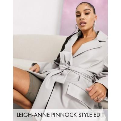 エイソス レディース ジャケット・ブルゾン アウター ASOS DESIGN glam leather look jacket in gray