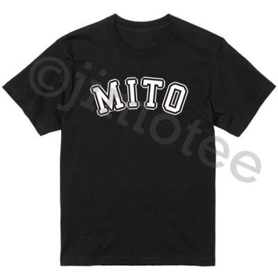 水戸市 MITO ジモTee 地元Tシャツ 地名Tシャツ ご当地Tシャツ 黒×白 カレッジロゴ アーチ  スタンダードデザイン
