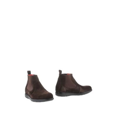 PAS DE ROUGE ショートブーツ ダークブラウン 45 革 / 紡績繊維 ショートブーツ