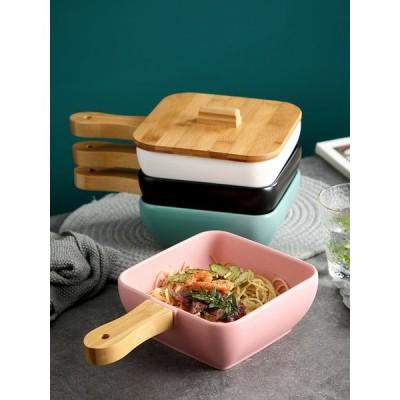 セラミック 皿 プレート トレイ スナック ステーキ 木製ハンドル 北欧