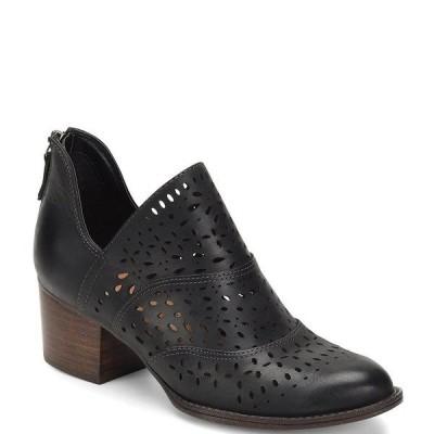 ソフト レディース ブーツ&レインブーツ シューズ Wyoming Leather Laser-Cut Block Heel Booties Black