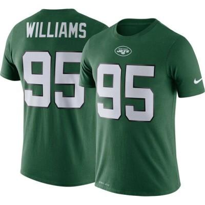 ナイキ Nike メンズ Tシャツ トップス New York Jets Quinnen Williams #95 Logo Green T-Shirt