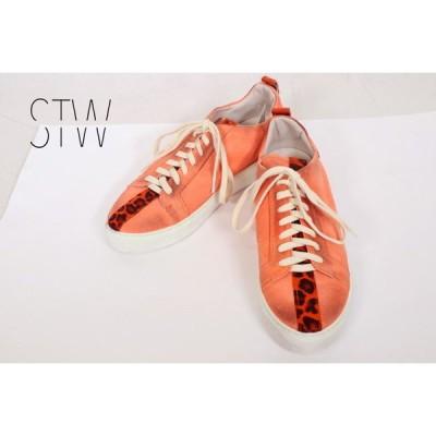 70%OFF 新品 エスティーダブリュ STW スニーカー 37 IS22 23.5cm オレンジ レディース 靴 レザー 本革 ヴィンテージ加工 イタリア製
